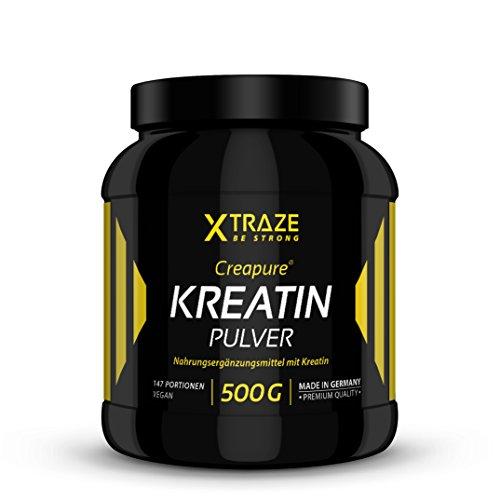 Creatine Monohydrat (Creapure®) Pulver 500g - Kreatin-Pulver vegan geschmacksneutral 100% rein Qualität aus Deutschland - für Kraftsport | Bodybuilding | Fitness