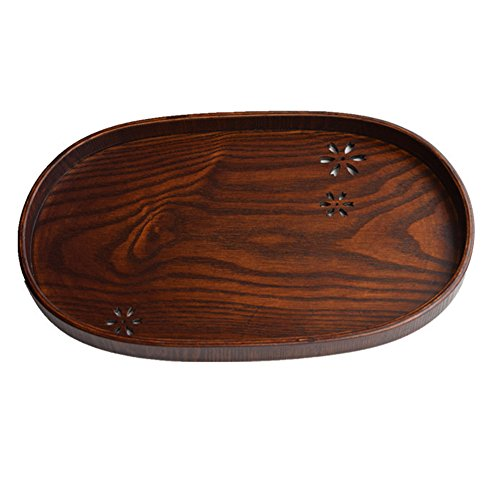 Dillman ovale vassoio in legno decorativi vassoi per servire tè, caffè vino, Legno, Brown, embossing style