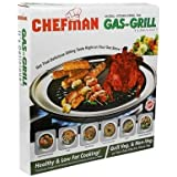 CHEFMAN Gas Grill smokeless Barbeque Non Stick Coating Grill with Non Stop Cooking-Black