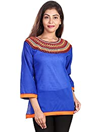Fashion Store Women's Hand Embroidered Chicken Work Cotton Cambric Kurti ( Blue , Medium)