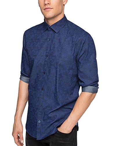 Esprit Mit Print, Chemise Casual Homme Bleu (NAVY 400)