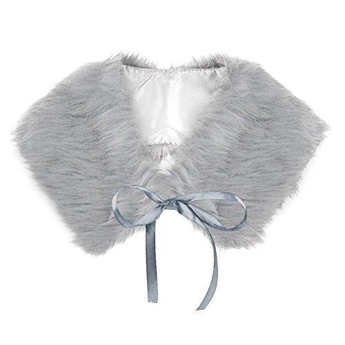 SODIAL(R) Neue Damen-Pelz-Schal-Verpackungs-Schulter-Band Schleifenkragen Wrap Achselzucken Schal - grau (Grau Achselzucken)
