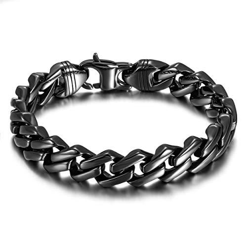 WISTIC Armband Herren Edelstahl in 18k Gold Silber Schwarz Armkette Panzerkette für Männer Jungen Kettenarmband inkl. Schmuckschachtel Tolles Geschenk