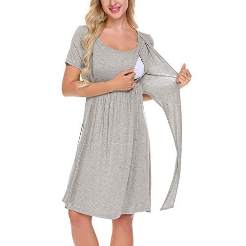 NINGSANJIN Umstandskleidung Sommer/Stillkleid/Mutterschaft/Krankenpflege Nachthemd Schwangerschaft Kleid für Krankenhaus Stillen Kleid 3/4 Ärmel S-XXL (M, Grau) - Spitze Nach Unten Offenen Gürtel