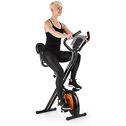 Klarfit X-Bike XBK700 Pro • Bicicleta estática • Bicicleta fija de cardio • Ergómetro • Ordenador de entrenamiento • Pulsómetro • Plegable • Sillín ergonómico • Pedales antideslizantes • Negro-Naranja
