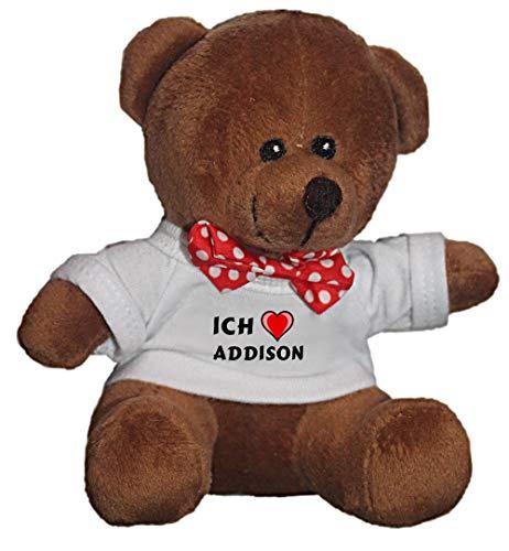 SHOPZEUS Teddybär mit einem T-Shirt mit Aufschrift Ich Liebe Addison , Größe 18 cm (Vorname/Zuname/Spitzname) -