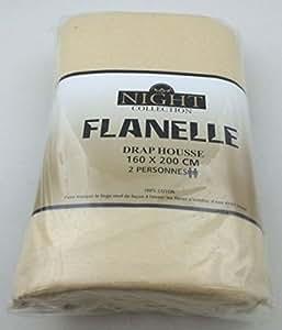 100pourcentcoton - Drap housse 140X190 CM BEIGE en 100% flanelle