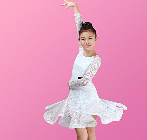 SMACO-Tanzkostüme Mädchen Latin Dance Kleidung Lace Wettbewerb Kleidung weiß/rot / grün/schwarz, White, l