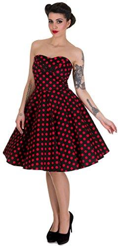 Dolly and Dotty? ?Melissa? Schulterfrei Vintage Cocktail Kleid Tellerrock Schwarz (Black/R Preisvergleich