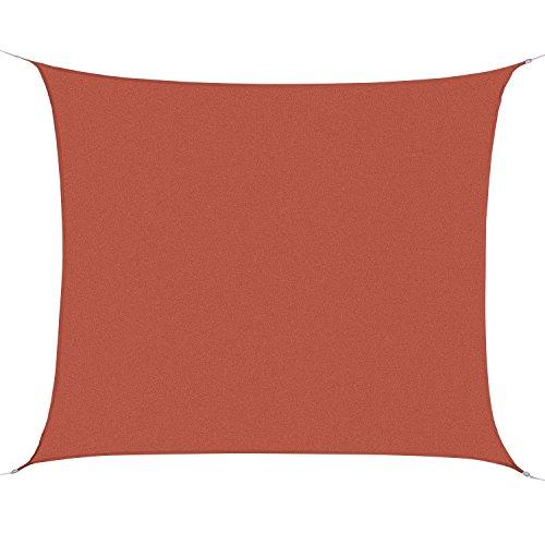 Toldo Vela Rectángulo 3x4m Vela de Sombra para Terraza Jardín Camping Resistente al Agua Protección UV Poliéster Color Oxido Rojo