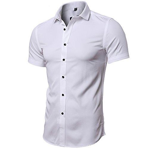 INFLATION Herren Hemd aus Bambusfaser umweltfreudlich Elastisch Slim Fit für Freizeit Business Hochzeit Reine Farbe Hemd Kurzarm Herren-Hemd Weiß DE L (Etikette 42)