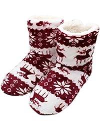 Zapatillas De Mujer Calcetines Cálidos Invierno Acogedor Vintage Floral Navidad Difuso Antideslizante