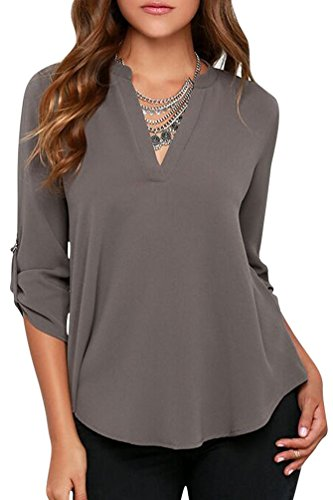LILBETTER Womens Casual Chiffon Ladies V-Neck Cuffed Sleeve Blouse Tops -  -