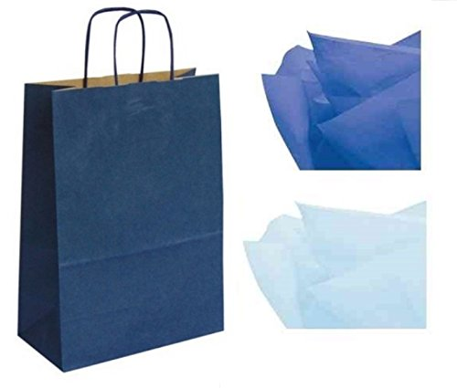 x 10 LUXURY PAPER GIFT BAGS WITH MATCHING TISSUE PAPER * ALL COLOURS AVAILABLE * - CHRISTMAS / BIRTHDAY / PARTY BAG - WHOLESALE & JOBLOT (Navy Blue)
