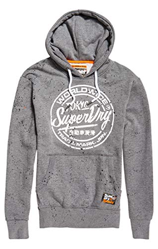 Superdry Herren World Wide Ticket Type Hood Pullover, Grau (Dark Marl 14q), Large