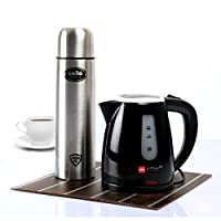 Cello Quick Boil 600 B Kettle With Cello Lifestyle Stainless Steel Flask 1000ml (Combo)