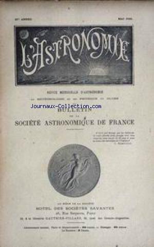 ASTRONOMIE (L') [No 5] du 01/05/1923 - NICOLAS COPERNIC - CRATERLETS ET INTUMESCENCES LUNAIRES - MIROIRS PARABOLIQUES - ED. EMERSON BARNARD.