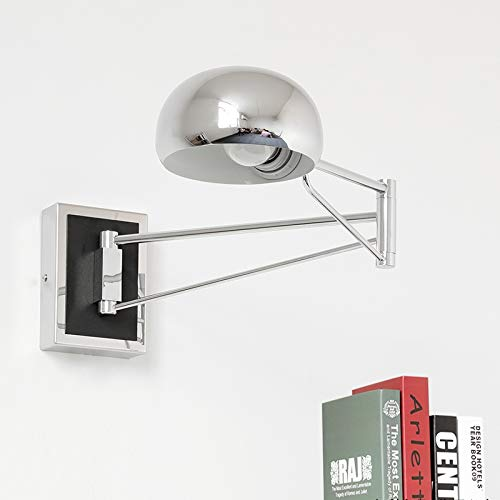 Chrome Light Switch (3 colors Modern LED Wall Lamps Simple Bedside With Dimmer Switch rocker arm Wall Lights Reading Light Indoor,Chrome,Button switch)