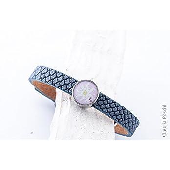 Lederarmband jeansblau in Echsendesign mit Schiebeperle Edelweiß pastellrosa