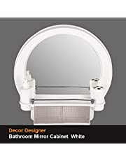 PAffy Decor Plastic Bathroom Cabinet with Mirror (White)