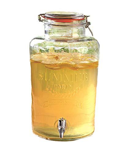 XXL Getränke Spender mit Zapfhahn und Bügelverschluss - 8 Liter - Glas Behälter Saftspender Dispenser (8 Liter)