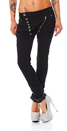 10649 Fashion4Young Damen Jeans Hose Boyfriend Haremsjeans Röhrenjeans Röhre Damenjeans (XS=34, Schwarz)