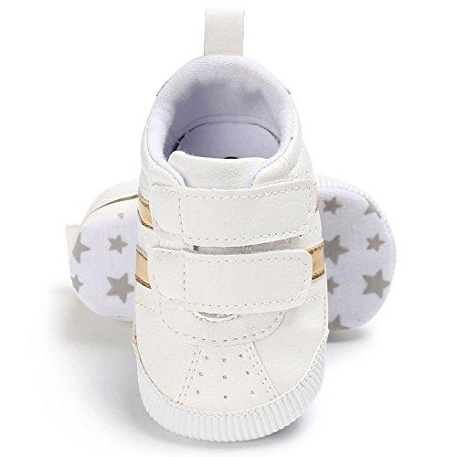 Juleya Scarpe da ginnastica antisdrucciolevole delle scarpe da ginnastica dei neonati appena nati bianca 0-6M oro