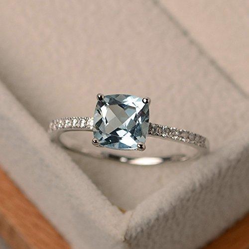 1,55ct Kissen Verlobung Diamant Ring Diamant Aquamarin-Ring Edelstein 14K Weiß Gold Alle Größe