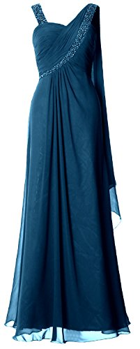 MACloth Women Straps Sweetheart Long Prom Dress Chiffon Formal Evening Gown Teal