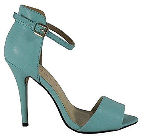 Ladies High Stiletto Heel Open Toe Back Ankle Strap Faux Suede Sandals Shoes 3-8 MINT LIGHT BLUE