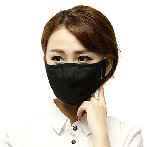 Küssen U Unisex Aktivierter Kohlenstoff Filterung Anti PM 2.5 Pollen Staub Gesicht Gesichtsmasken Mundschutz Masken Mit Verstellbarem Ohrbügel (Schwarz)