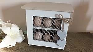 shabby chic vintage petit meuble de rangement en bois pour ufs cuisine maison. Black Bedroom Furniture Sets. Home Design Ideas