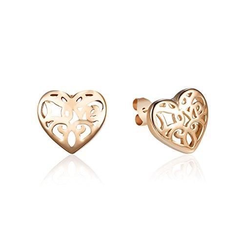 De Oro Aretes (Rose Gold Farbe 925Sterling Silber Herzform geschnitzt Love Muster Ohrringe Schmuck)