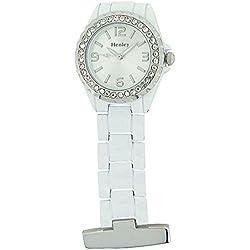 Henley Nurses/Doctors Diamante Crystal Pocket Fob Watch White HF01.4