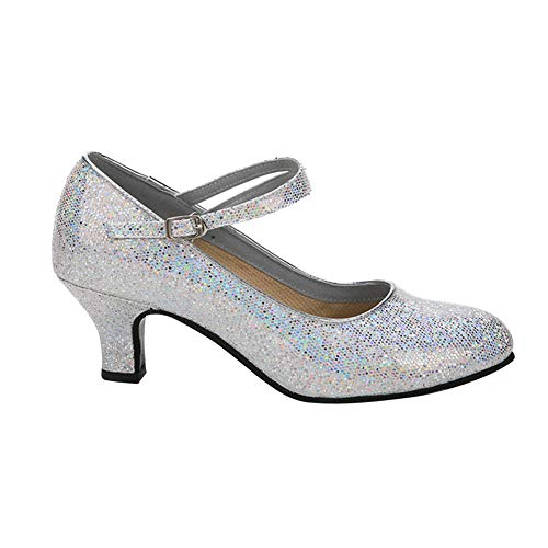 Tenthree sandali sala da ballo scarpe donna - bambina elegante pelle latino ballo scarpe mezzo tacco fibbia standard tango samba salsa balli jazz moderno ballroom professionali