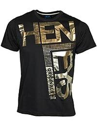 Mens Henleys Fleek T Shirt New Designer Branded Shiny Graphic Print Tee Top