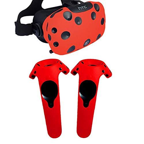 DJGHPWP VR Für HTC Vive Headset VR Silikon-Schutzhülle VR Brille Helm Controller Griff Hülle Skin Virtual Reality Zubehör