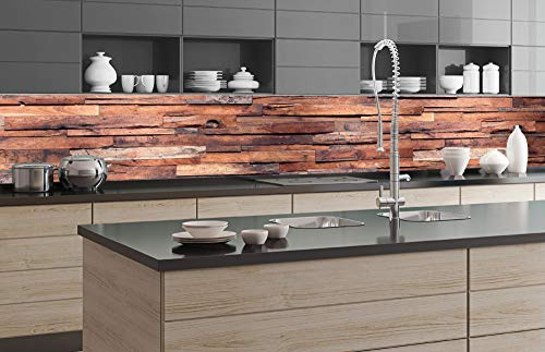 DIMEX LINE Küchenrückwand Folie selbstklebend HOLZWAND 350 x 60 cm   Klebefolie - Dekofolie - Spritzschutz für Küche   Premium QUALITÄT