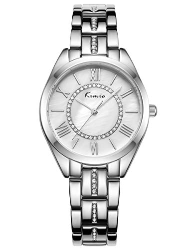 Alienwork Damen-Armbanduhr Quarz Silber mit Edelstahl Metallarmband Perlmutt-Zifferblatt Strass-Steinen Ultra-flach dünn