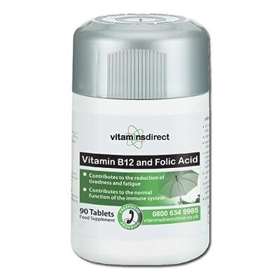 Vitamin B12 & Folic Acid: 90 tablets 1000mcg / 400mcg by Vitamins Direct