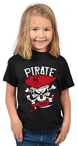 (Kindershirt Sprüche Motiv Tshirt Pirat Karneval : Pirate Captain - Kinder Sprüche T-Shirt Pirat Gr: XS = 110-116)