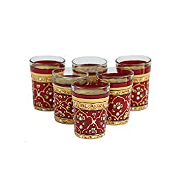 eCraftIndia Set of 6 Handpainted Decorative Glass Set - 103 Maroon Color