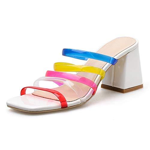 Moreforlove Schieben Sie in Sandalen für Frauen Multi Bunte PVC-Riemen Käfig Clogs Slipper Peep Toe Mitte Block Ferse Karree Elegant (Color : Weiß, Size : 37 EU)
