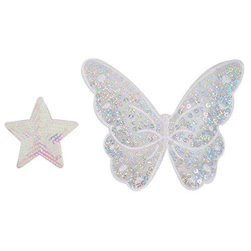 Milya 2er Aufnäher Bügelbild Aufbügler Bügeleisen auf Patches Applikation für T-Shirt Jeans Kleidung Taschen, Hellpink Pailletten fünfeckiger Sterne + Schmetterling