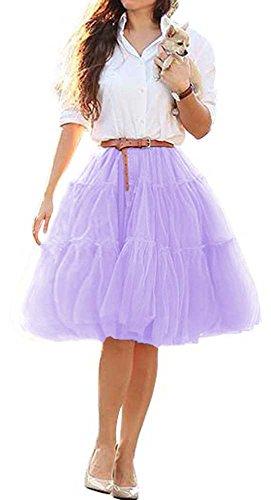CoutureBridal® Jupe Tutu Femme Courte 6 Couches Elastic Ceinture Princesse Tulle 60cm Violet
