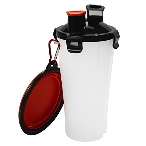 Wasserflasche Hund, kokeo Hundfutter Trinkschale Trinkflasche und Frei Zusammenklappbar Schüssel mit Edelstahl-Karabinerhaken für Haustier Draussen Trinken Fütterung