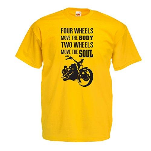 lepni.me Maglietta da Uomo Due Ruote muovono l'anima: Dono dei Motociclisti, detti di Moto (X-Large Giallo