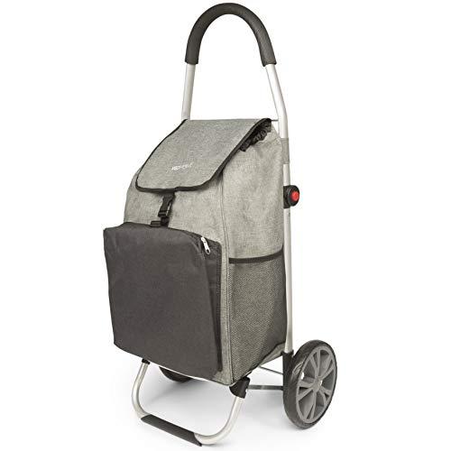 Chariot de Course - Caddie à roulettes - Cabas à Roues Pliable avec Sac Isotherme pour Le marché (Gris et Noir)