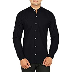 Base 41 Men's Linen Stand Collar Full Sleeves Shirt (STFL)