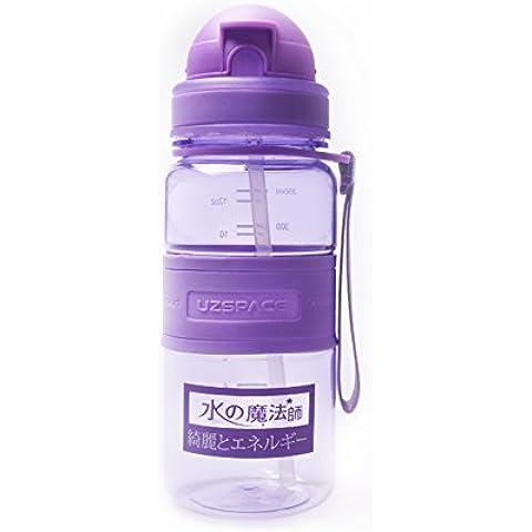 Tofern bevande paglia bottiglia sport di idratazione bottiglia di acqua tritan kis borraccia paglia - porpora - 350ML